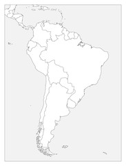 Blank political map of South America. Simple flat vector outline map.