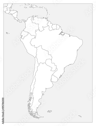 Blank political map of South America. Simple flat vector outline map ...