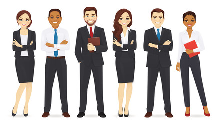 Group of business man and woman vector illustration set
