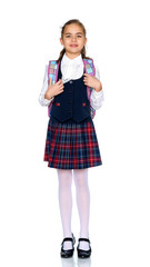 Beautiful little girl in a school uniform.