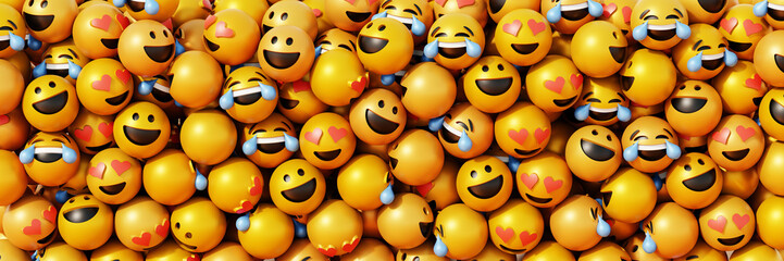 Infinite emoticons 3d rendering background, social media and communications concept Wall mural