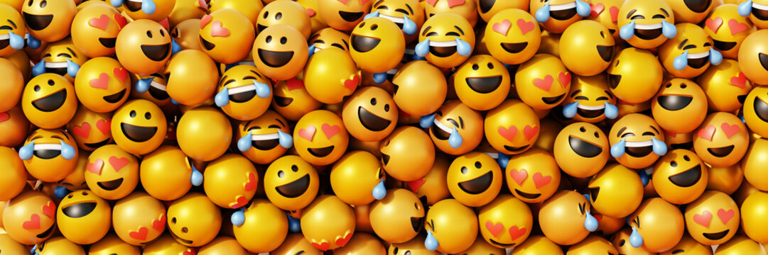 Infinite emoticons 3d rendering background, social media and communications concept