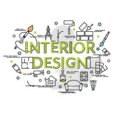 Flat colorful design concept for Interior Design. Infographic idea of making creative products..Template for website banner, flyer and poster..