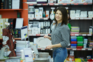 young beautiful woman - shopping at supermarket