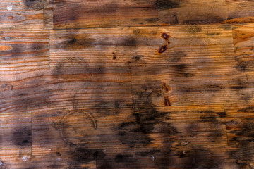 old, dirty, natural wood surface plate. Brown, dirty wood surface background. dirty, worn out table surface as background.