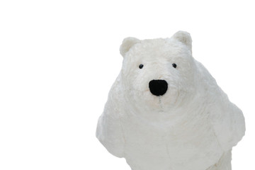 Cute White teddy Bear standing decorated in Christmas Festival cut off on white background