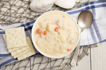 Clam Chowder in a White Bowl