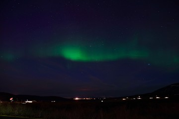 Iceland Aurora Northern Lights and star near Selfoss