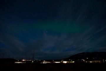 Iceland Aurora Northern Lights and star near Selfoss