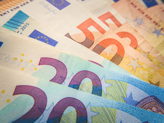 Euro, currency of European Union. Financial background