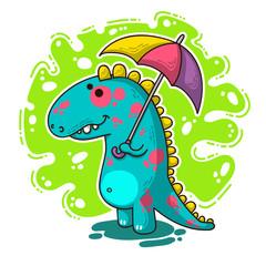 Cool Dino doodle illustration