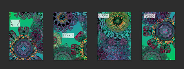 Ethnic banners template with floral Mandala ornament.