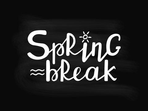 Spring Break hand drawn text chalkboard background. Handwritten modern brush lettering. Vector illustration.