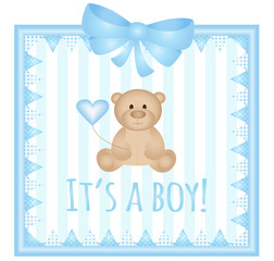 Baby arrival announcement card- It's a boy vector