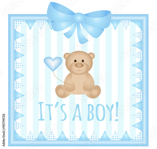 Baby Arrival Announcement Card Its A Boy Vector Stock Image And - Baby arrival announcement