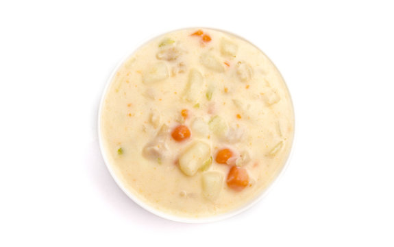Clam Chowder in a White Bowl