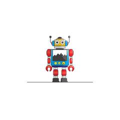 robot tin toy , vector logo