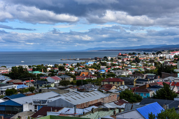Panoramic view of Punta Arenas and Straits of Magellan. Patagonia, Chile, South America