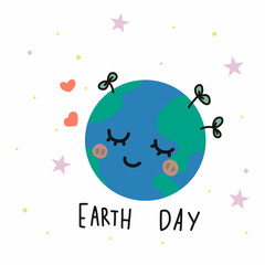 Earth day cartoon vector illustration doodle style