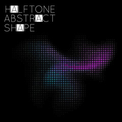 Abstract halftone geometric shape isolated on black background