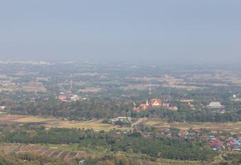 high aerial view of Wat Pra that Cho Hae public temple at   Phrae ,Thailand