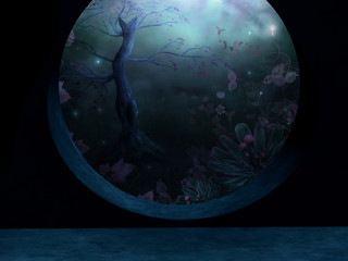 A circular window looking out into a magic forest background.
