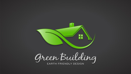 Eco Friendly Green house Logo. Vector Design