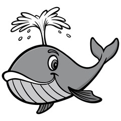 Whale Illustration - A vector cartoon illustration of a cute Whale mascot.