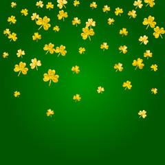 Saint patricks day background with shamrock. Lucky trefoil confetti. Glitter frame of clover leaves. Template for poster, gift certificate, banner. Celtic saint patricks day backdrop.