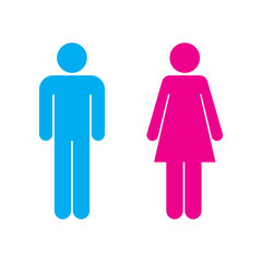 male icon and female icon, isolated vector