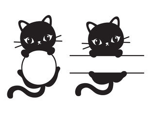 Cute black silhouette cat round and rectangular frame vector illustration.