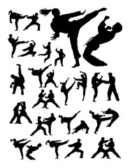 Couple exercising karate detail silhouette. Vector, illustration. Good use for symbol, logo, web icon, mascot, sign, or any design you want.