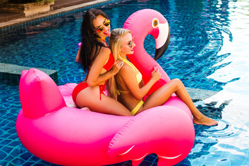 Two cool sexy girls in bright bathing suits and sunglasses are having fun in the pool floating on a large inflatable pink flamingo in a hotel on summer vacation on a tropical island.