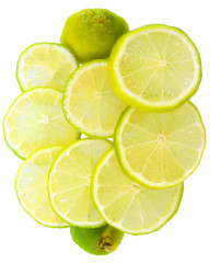 Fresh cut lime top view isolated
