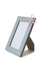 cute blue wooden frame, bow isolated