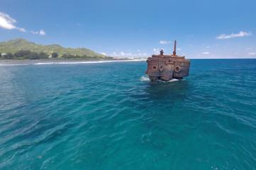 Shipwreck of the RMS Maitai in Avarua harbour Rarotonga Cook Islands