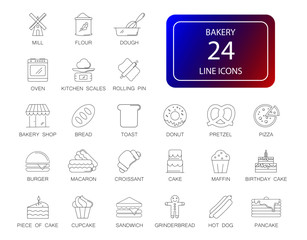 Line icons set. Bakery pack. Vector illustration