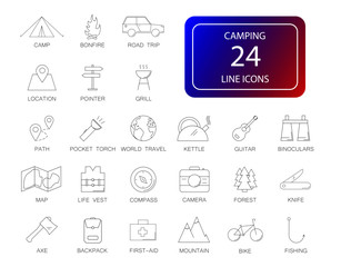 Line icons set. Camping pack. Vector illustration