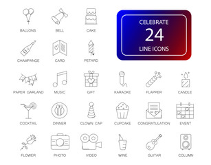 Line icons set. Celebrate pack. Vector illustration