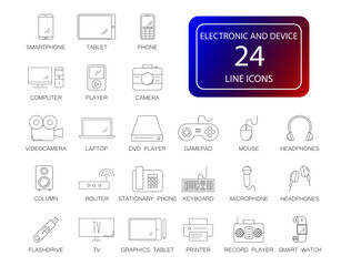 Line icons set. Electronic and Device pack. Vector illustration