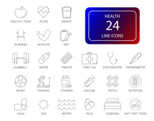 Line icons set. Health pack. Vector illustration