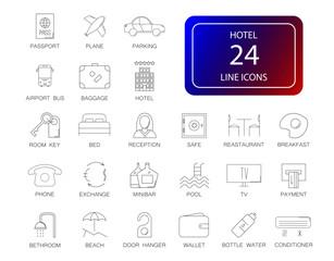 Line icons set. Hotel pack. Vector illustration