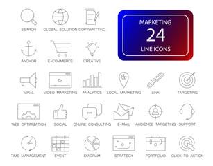 Line icons set. Marketing pack. Vector illustration