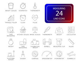 Line icons set. Measuring pack. Vector illustration