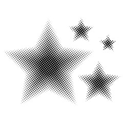 Set of Star different size in halftone. Stars icons for websites or applications isolated on white background. Vector