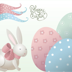 Easter background with eggs and rabbit