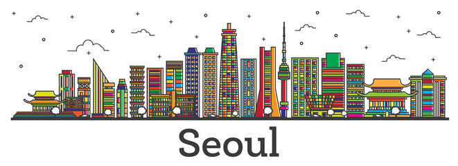 Outline Seoul South Korea City Skyline with Color Buildings Isolated on White.