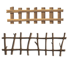 illustration wooden fence over the white background.