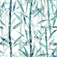 Seamless Botanical pattern. Bamboo branches on a white background.