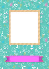 Floral frame for picture with banner for text